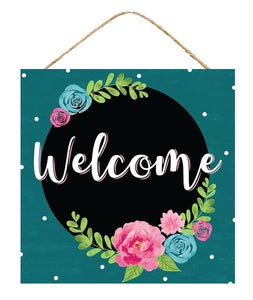 "12"" SQ Welcome Floral Sign AP8567"