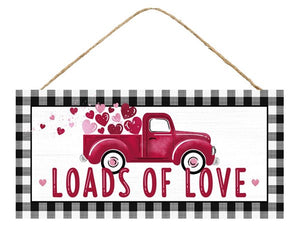 "12.5""L X 6""H Loads Of Love W/Truck Ap8576 Black/White/Red/Pink"