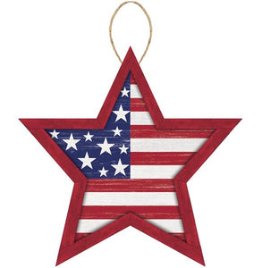 "12""Lx11.75""H Mdf Stars And Stripes Sign Red/White/Blue Ap8704"
