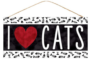 "12.5""L X 6""H I Heart Cats Sign AP8718"