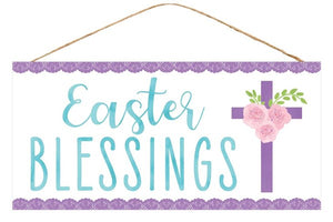 "12.5""L X 6""H Easter Blessings Sign White/Purple/Blue Ap8730"