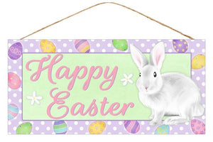 "12.5""L X 6""H Happy Easter Sign Green/Lavender/Pink/White Ap8746"