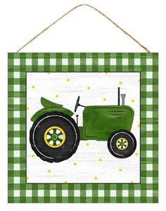 "10""Sq Tractor/Gingham Sign Green/White Ap875909"