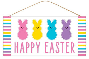 "12.5""L X 6""H Happy Easter/4 Bunny Sign White/Pnk/Ylw/Blue/Purple AP8764"