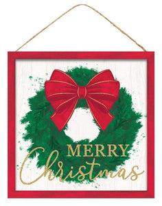 "10""Sq Merry Christmas Wreath Sign Red/Emerld/Lt Green/White Ap8837"