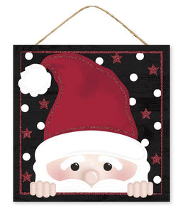 "10""Sq Glitter Peeking Santa Face AP884702 Black"