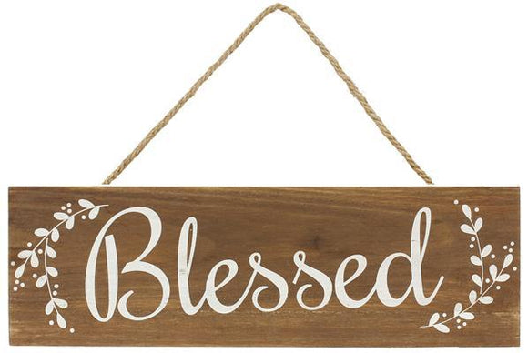 "Blessed Wood Sign 16""x5"" AP0137"