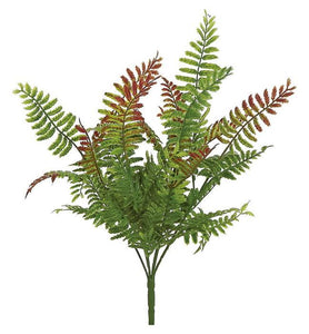 "WILD FERN BUSH X6, 12"", GREEN/BURGUNDY FL3444-GBU"