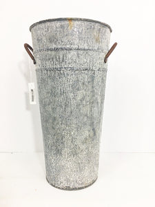 Farmhouse Galvanized Vase 11""