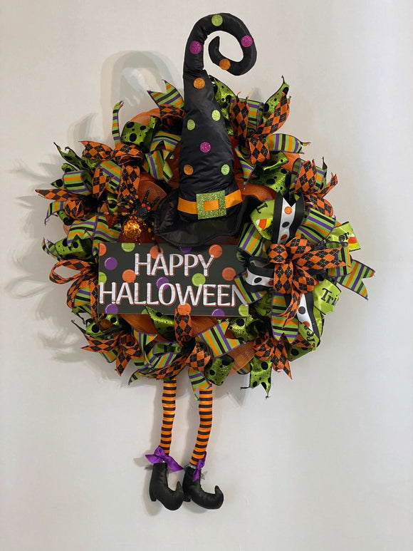 Halloween Witch Door Wreath, Front Door Halloween Decor, Welcome Witch Halloween Door Wreath