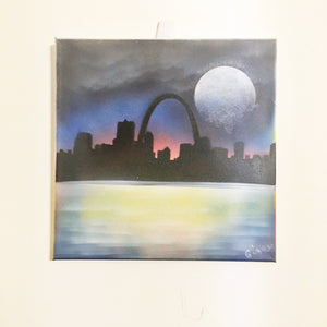 "12"" x 12"" Framed Canvas St. Louis Skyline Painting"