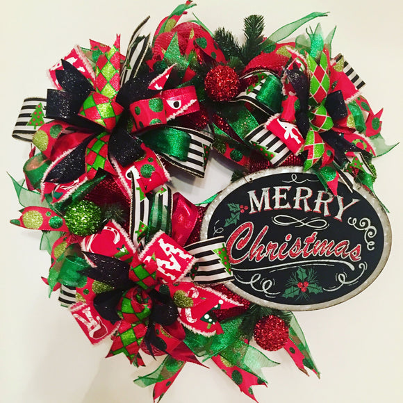 Merry Christmas Wreath, Black and Red Wreath, Modern Christmas Decor