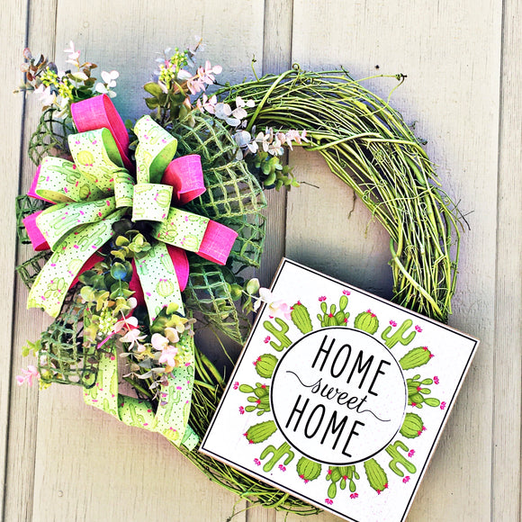 Southwest wreath, southwestern decor, Home Sweet Home, southwest decor, cactus wreath, cactus themed wreath