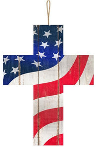 "American Flag Cross Sign 13.75""x10"""