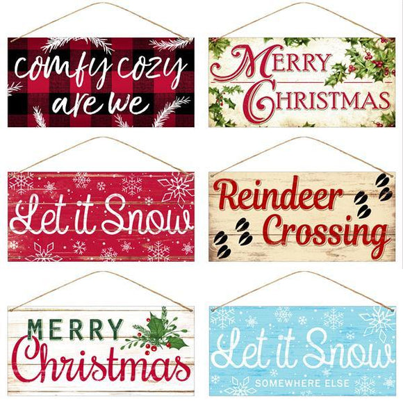Christmas 6 Asst Signs Cozy/Snowy/Christmas