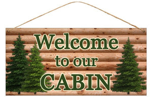"12""L X 6""H Tin Welcome To Our Cabin Natural/Green Md0412"