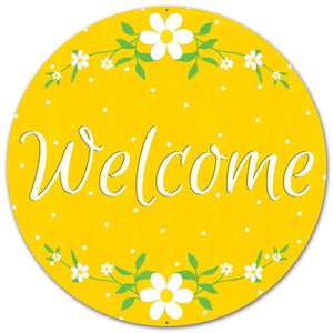 "12""Dia Metal ""Welcome"" Daisy Sign Yellow/White/Green Md045729"