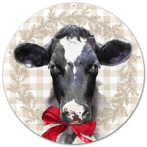 "12""DIA METAL BESSIE THE COW W/BOW MD0474"
