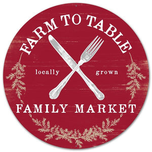 "12""Dia Metal Farm To Table Sign  MD0492"