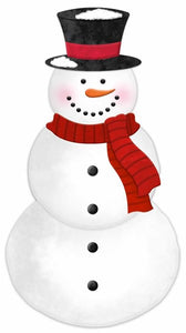 "12""H X 6.5""L Metal/Embossed Snowman MD0604"