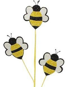 "25""L Glitter Bumble Bee Pick X3 White/Black/Yellow Mn0042"