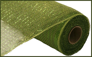 "10.25""X10Yd Metallic Mesh Moss/Apple W/Lime Foil Re130149"