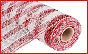 "10""X10yd Stripe Mesh Red/Wh RE1316C4"