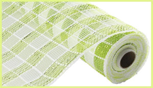 "10.25""X10YD METALLIC Lime CHECK MESH RE1367M9"
