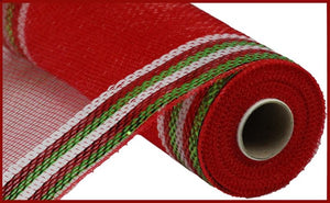 "10.25""X10yd Border Stripe Metallic Mesh Red Green Stripe RE850493"