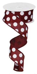 "1.5""X10Yd Medium Polka Dots Maroon/White RG01203CX"
