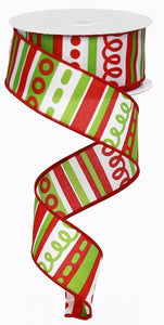 "1.5""X10Yd Loopy Stripes White/Red/Lime Rg01311T9"