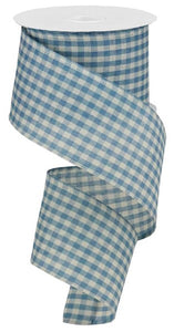 "2.5""X10Yd Primitive Gingham Check Farmhouse Blue/Ivory Rg013218K"