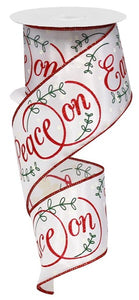 "2.5""X10Yd Peace On Earth On Satin White/Red/Green/Ivory RG01377W7"