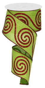 "2.5""X10Yd Large Swirl Fresh Green/Red RG0140970"