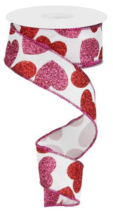 "1.5""X10Yd Bold Hearts On Royal White/Red/Pink Rg0166827"