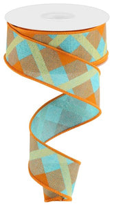 "1.5""X10Yd Printed Plaid On Royal Lt Teal/Orange/Mustard Rg01682F3"