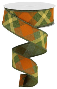 "1.5""X10Yd Printed Plaid On Royal Moss Green/Orange/Mustard Rg01682Mx"