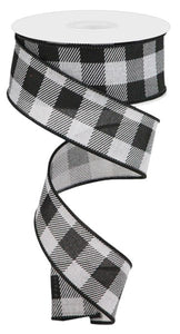 "1.5""X10Yd Striped Check On Royal Light Grey/Black Rg0180510"