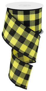 "2.5""X10YD STRIPED CHECK ON ROYAL Yellow/BLK RG0180629"