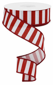 "1.5""X10Yd Medium Horizontal Stripe/Royal White/Crimson Rg018459Y"
