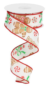 "1.5""X10yd Gingerbread W/Candy RG0184837 Ivory/Red/Emerald/Brown"