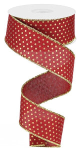 "1.5""X10Yd Royal Swiss Dots Burgundy/Gold Rg0190705"