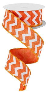 "1.5""X10Yd Small Chevron/Royal Orange/White Rg101820"