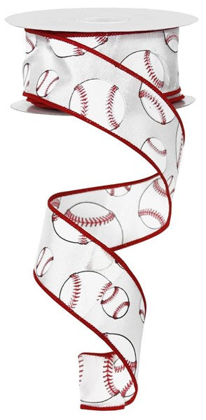 "1.5""X10YD White/Red BASEBALL RG1746"