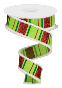 "1.5""X10Yd Glitter Stripes On Royal Lime/Red/Emerald Rg8837E9"