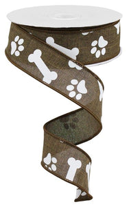 "1.5""X10YD PAW PRINT/BONES ON ROYAL Brown RGA115004"