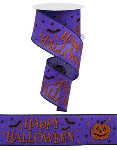 "2.5""X10Yd Happy Halloween On Royal Purple/Orange/Black Rga11796A"