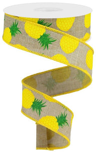 "1.5""X10Yd Pineapples On Royal Lt Beige/Yellow/Green RGA119001"