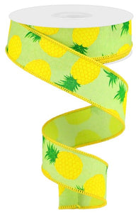"1.5""X10Yd Pineapples On Royal Brt Grn/Yellow RGA119009"