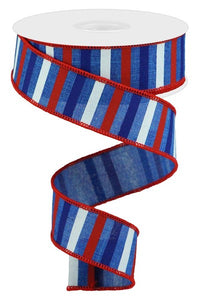 "1.5""X10Yd Horizontal Stripe On Royal Royal Blue/Red/Blue/White Rga120425"